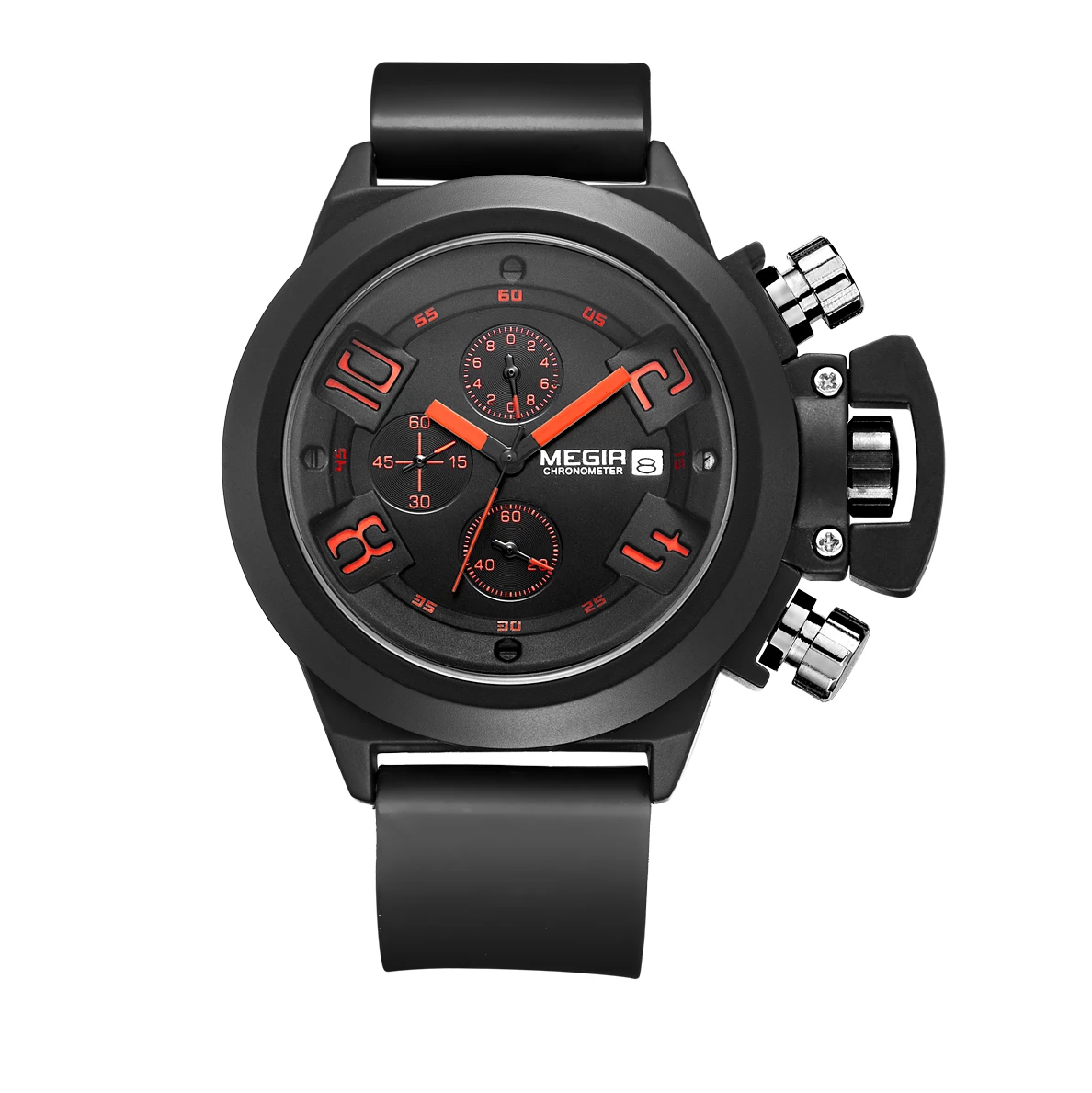 Mens Fashion Waterproof Military Quartz Watches Sports Silicone Strap Chronograph Wrist Watch for Men 2002 - MEGIR