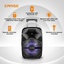 Load image into Gallery viewer, EARISE Bluetooth PA Speaker System with Wireless Microphone, Portable Outdoor Karaoke Machine - Fun Wireless Speaker for Party - V30 Black