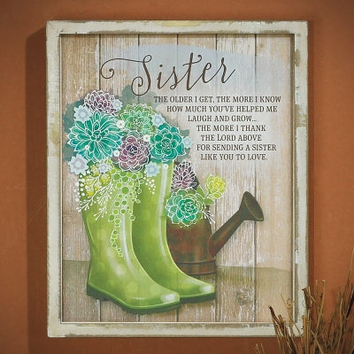 Plaque-Sister-The Older I Get-Rain Boots