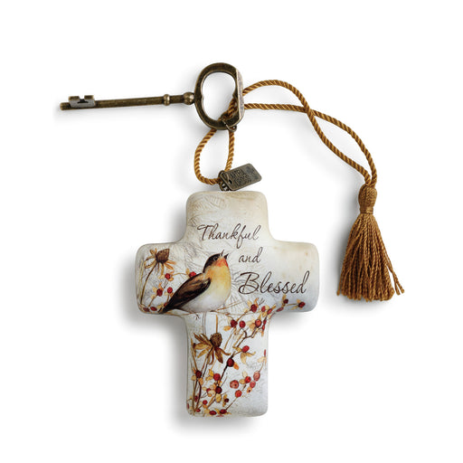 Ornament-Cross With Key-Thankful & Blessed