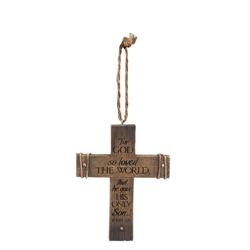 Ornament-Cross-For God So Loved-John 3:16