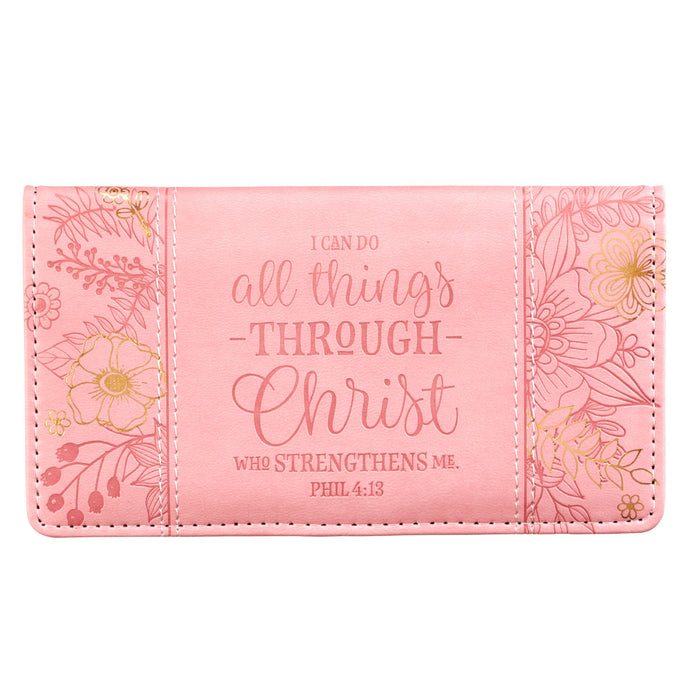 Checkbook Cover - I Can Do All Things Through Christ - Pink