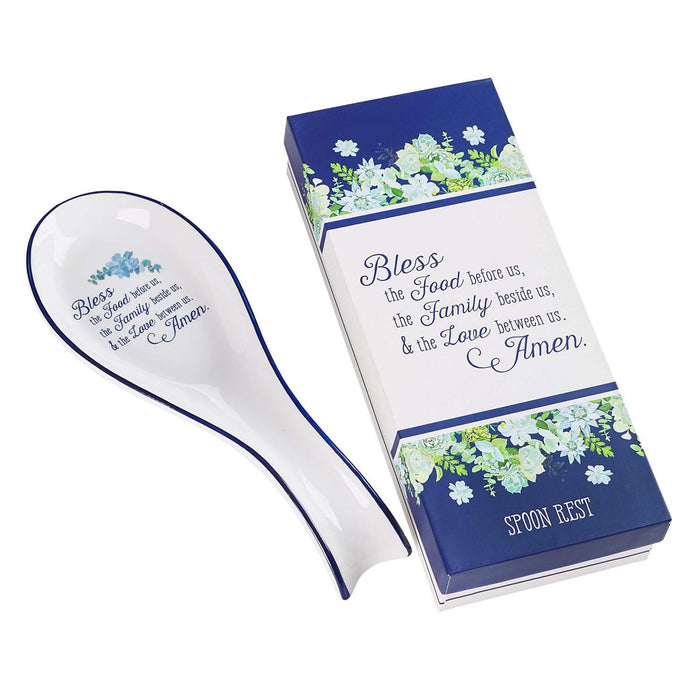 SPOON REST-BLESS THIS FOOD-WHT/RYL BLUE CERAMIC