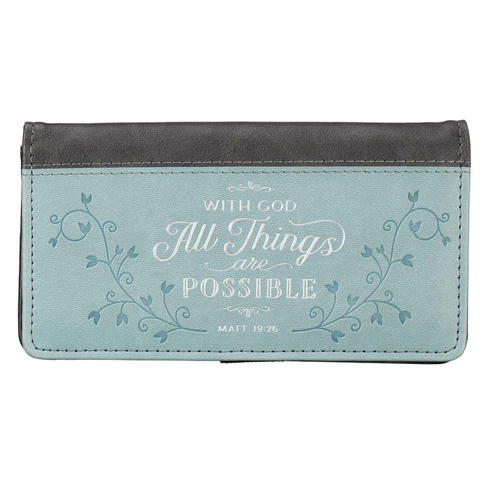 All Things Are Possible Faux Leather Checkbook Cover in Light Blue - Matthew 19:26