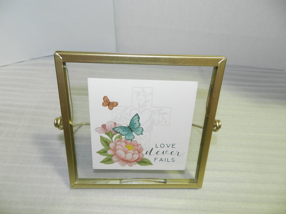 Plaque-Love Never Fails-Cross with Butterfly