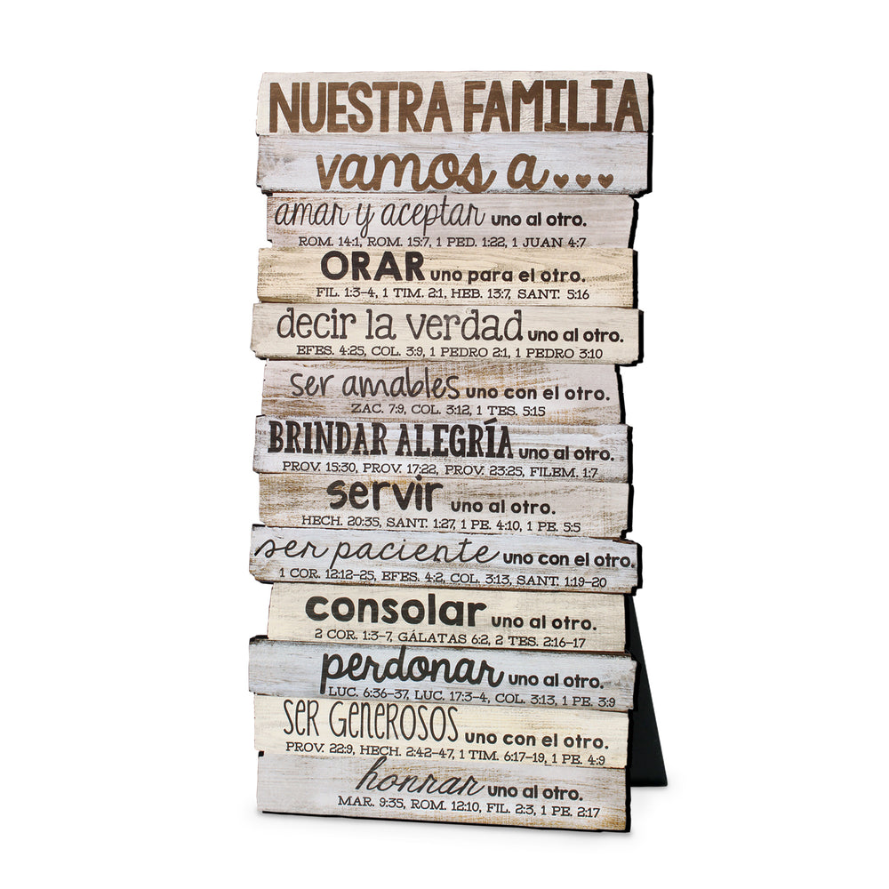 Spanish-Plaque-Our Family-Stacked Words-5x10
