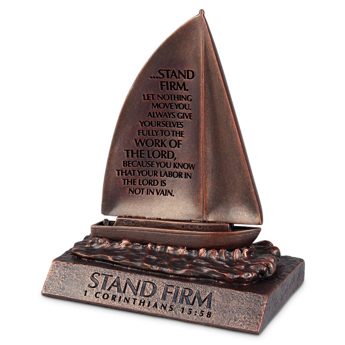 Figurine-Sailboat-Stand Firm-Bronze-Moments of Faith