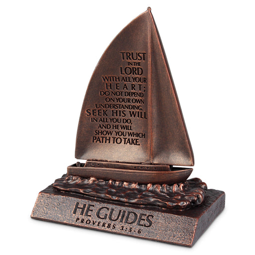 Figurine-Sailboat-He Guides-Bronze-Moments of Faith