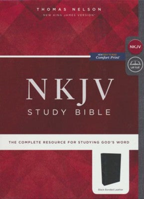 NKJV- Study Bible-Black- Bonded Leather-Comfort Print- Non-Indexed