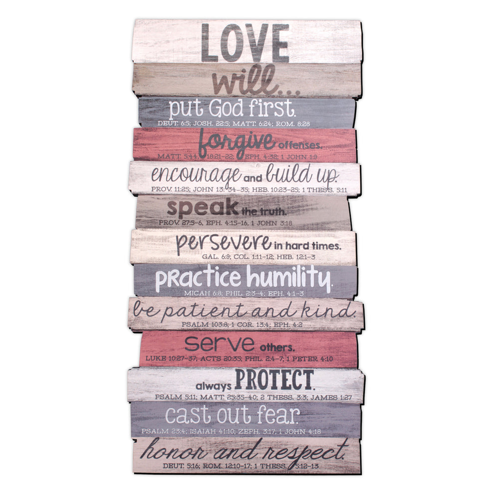 Plaque-Love Will-Stacked Words-8.5x16.5