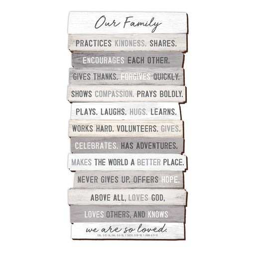 Plaque-Our Family-Stacked Words-8.5x16.5