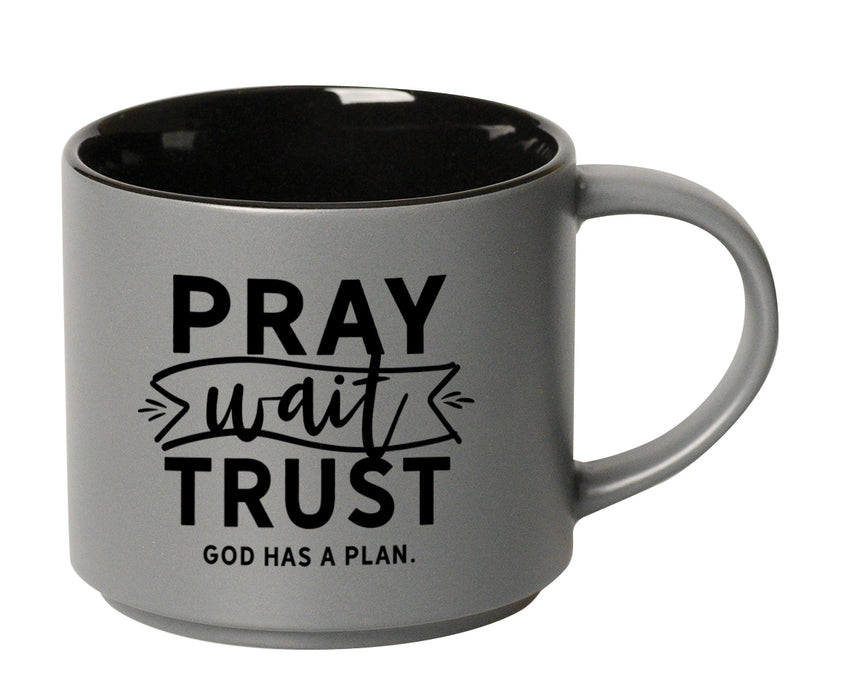 Mug-Pray Wait Trust-Gray/Black