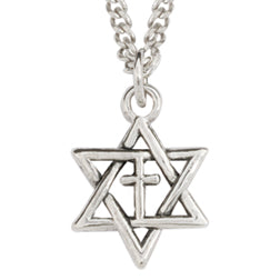Pendant-Star of David Cross-Silver Plated