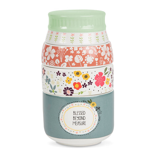 Measuring Cups-Stacked-Blessed Beyond Measure-Floral