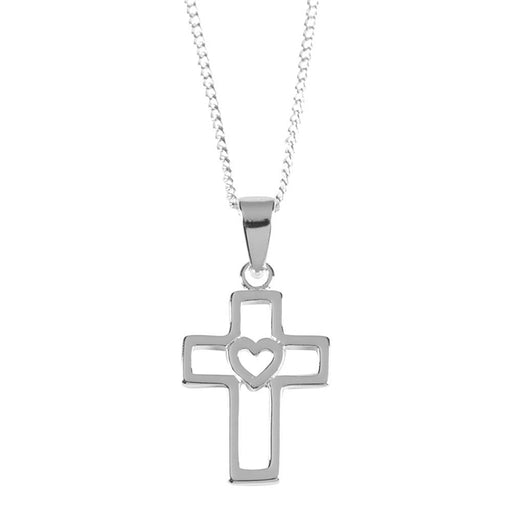 Pendant-Cross-Box w/Cut Out Heart-16 in -Silver Plated