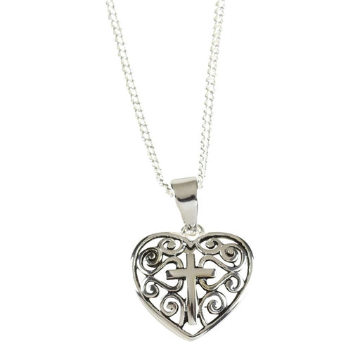 Pendant-Heart with Cross-Decorative-16 in Silver Plated