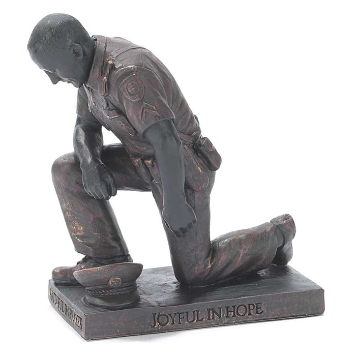 Figurine-Police Officer Praying-Bronze Resin
