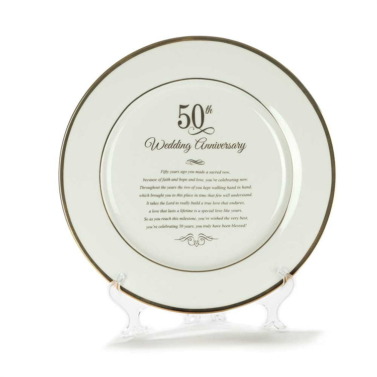 Plate - 50th Wedding Anniversary - White and Gold