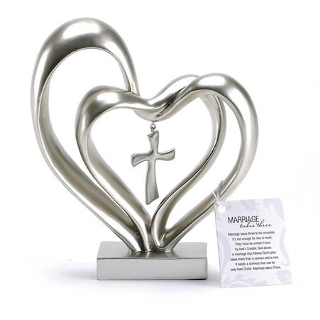 Figurine-Heart-Double with Cross Hanging