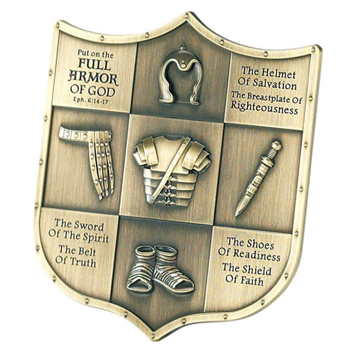 Plaque-Full Armor Of God-Shield-Antique Brass/Metal