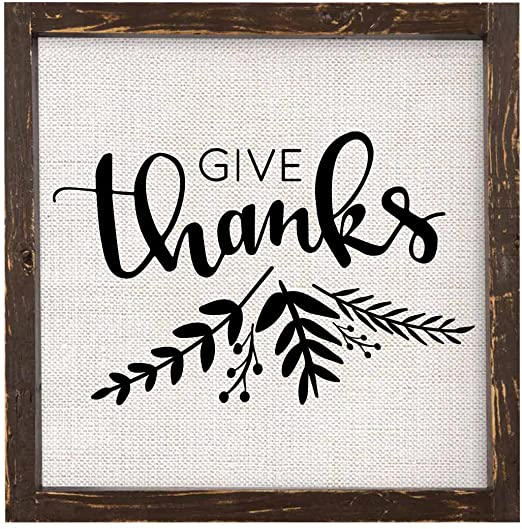Plaque-Give Thanks-Linen-12x12
