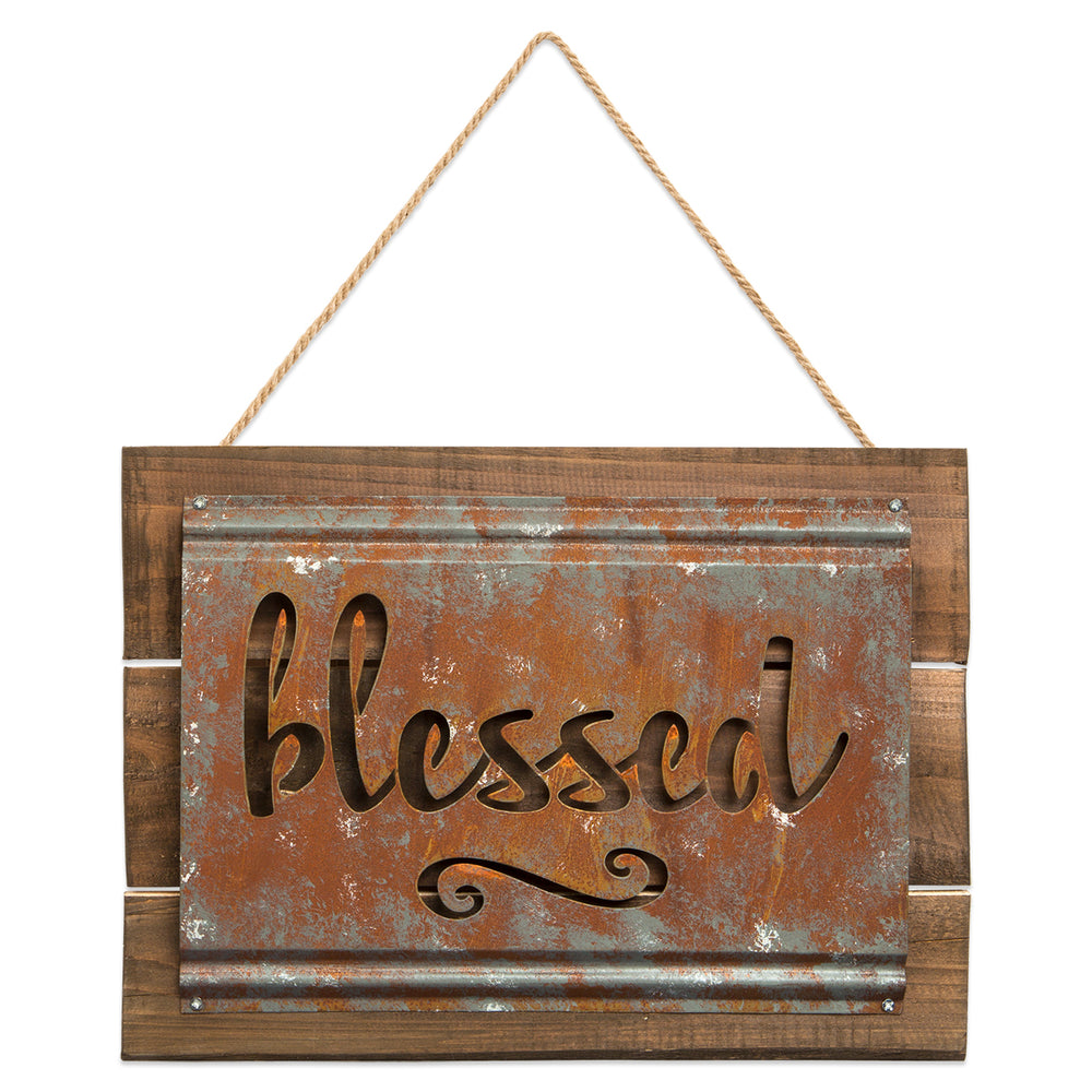 Plaque-Blessed-Metal/Distressed Wood