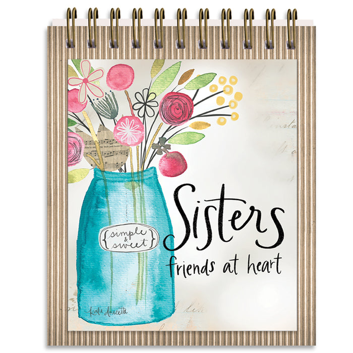 Easel Book-Sister/Friends at Heart-Vase With Flowers