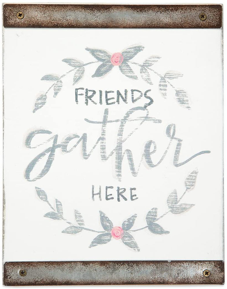 Plaque-Friends Gather Here-White Wood