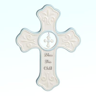 Wall Cross- Bless This Child- Dangle Cross-Blue
