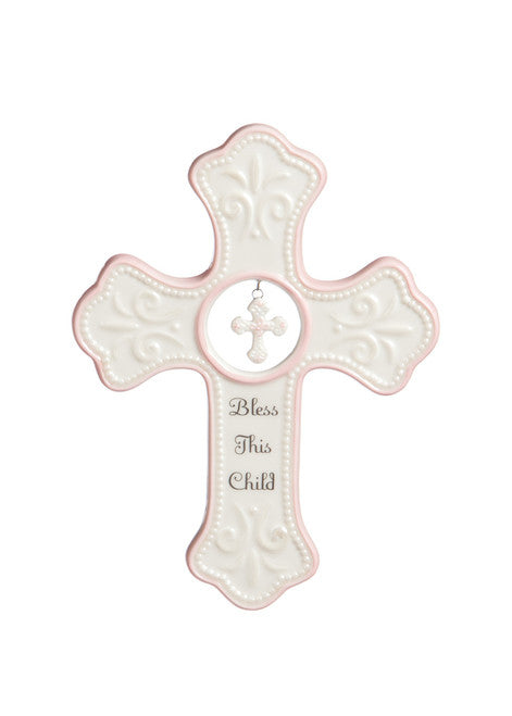 Wall Cross-Bless This Child-Dangle Cross-Pink