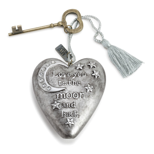 Ornament-Heart with Key-Moon & Back-Silver