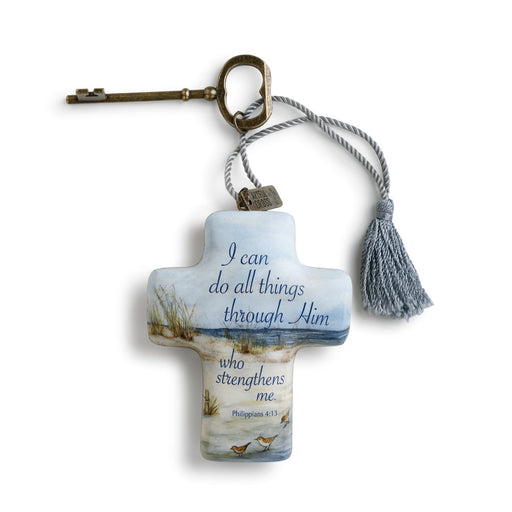 Ornament-Cross with Key- All Things Through Him