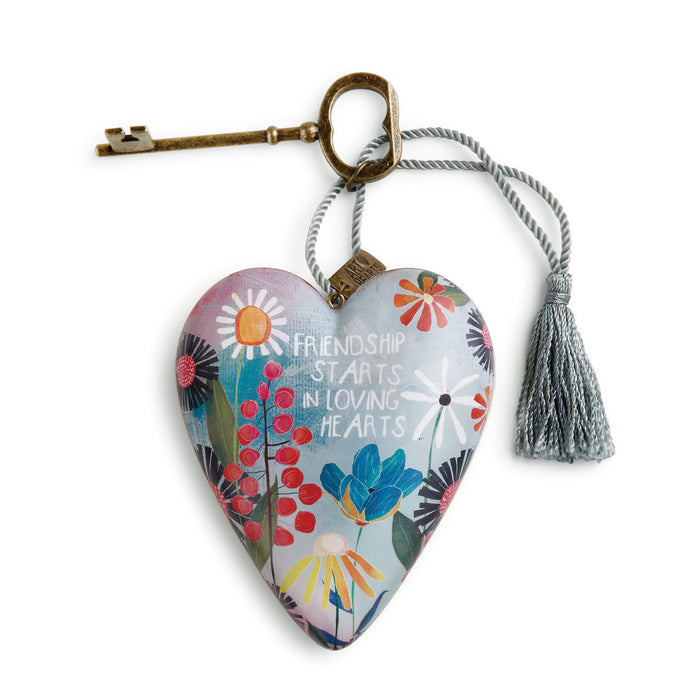 Ornament-Heart w/ Key-Friendship/Loving Hearts