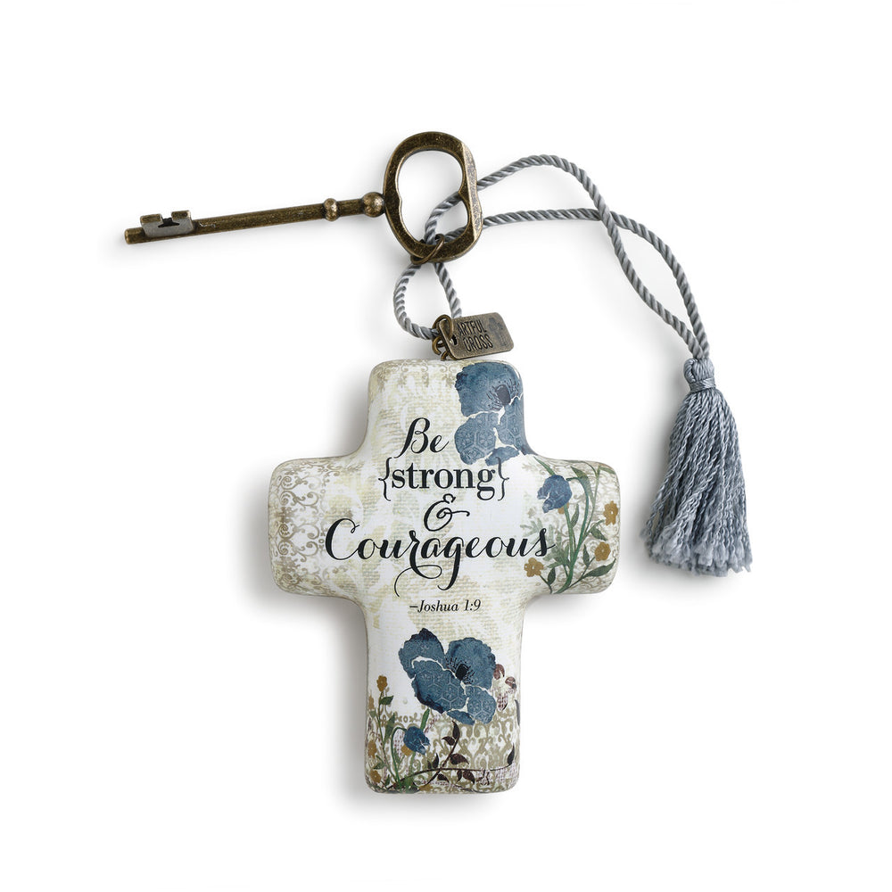 Ornament-Cross with Key-Strong and Courageous