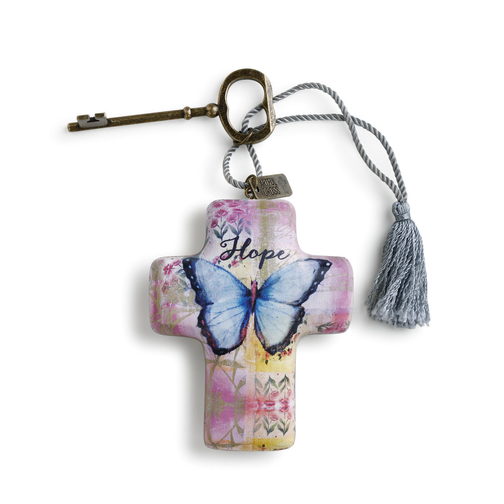 Ornament-Cross with Key- Hope/Butterfly