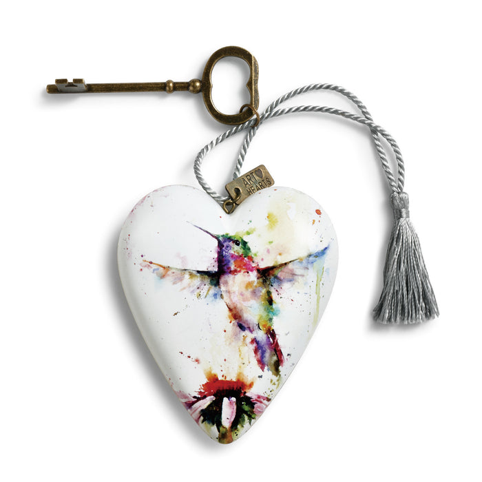 Ornament-Heart with Key-Hummingbird