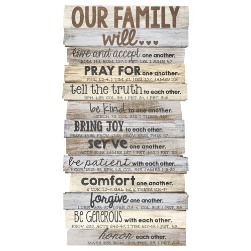 Plaque-Our Family-Stacked Words