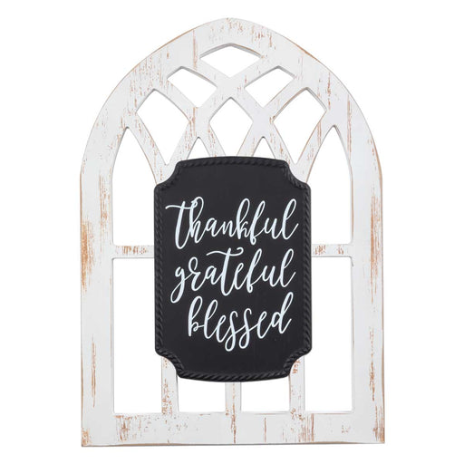 Plaque-Thankful Grateful Blessed-Arched Window
