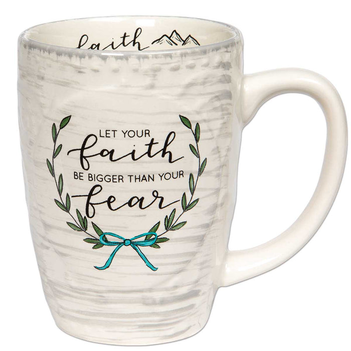 Mug-Bigger Than Your Fear-Floral/Sculpted