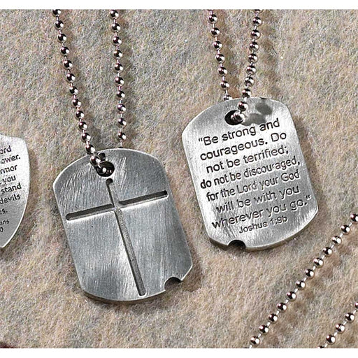 Pendant-Dogtag w/Cross-Be Strong & Courageous-Pewter-21 in Beaded Chain