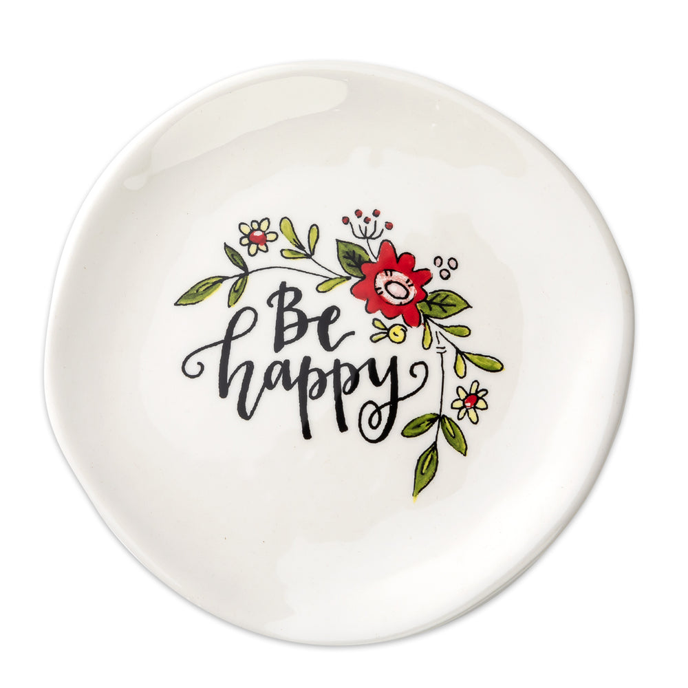 Trinket Tray-Be Happy-Floral