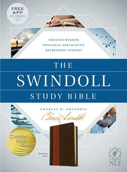 NLT Swindoll Study Bible-Brown/Tan TuTone Leatherlike