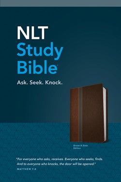 NLT Study Bible-Brown/Slate TuTone-Leatherlike