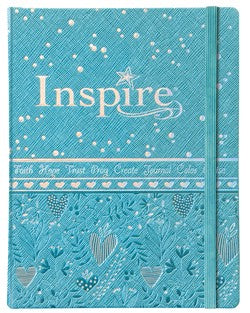 NLT Inspire Bible For Girls-Light Blue Leatherlike Hardcover