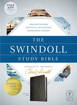 NLT Swindoll Study Bible-Black Leatherlike