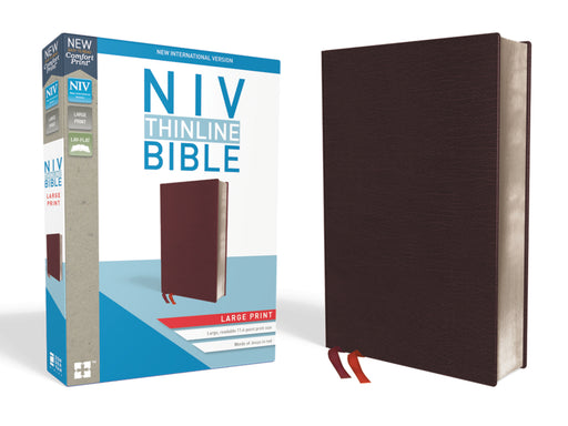 NIV Thinline Bible Large Print Comfort-Burgundy