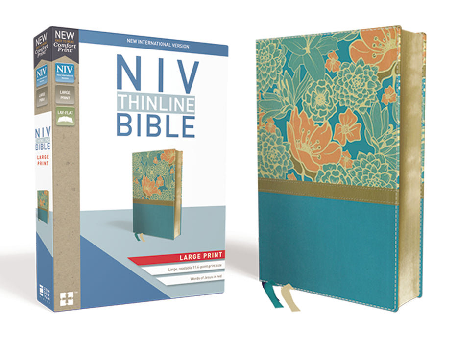 NIV-Thinline Bible Large Print Comfort- Turquoise/Floral