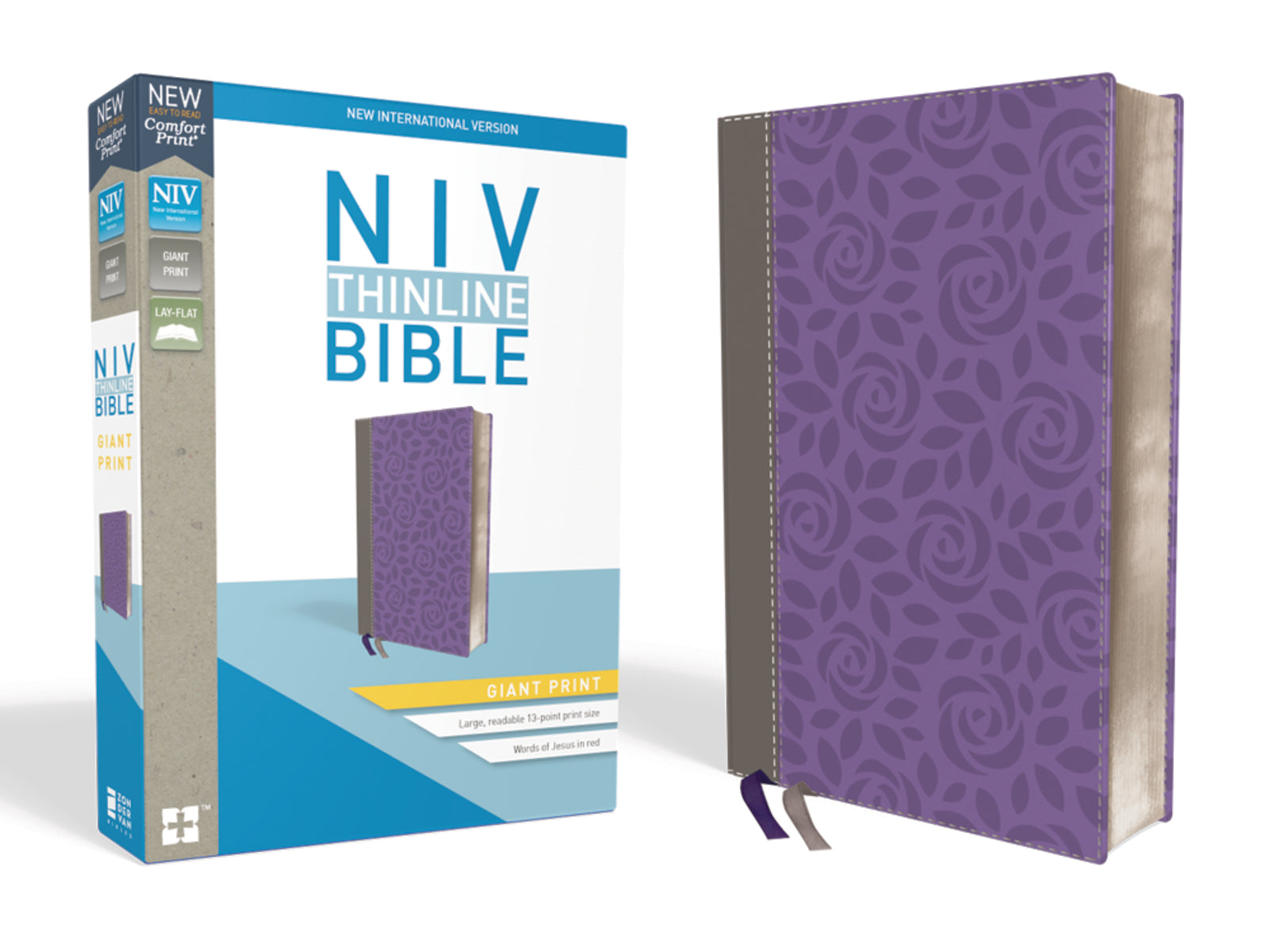 NIV Thinline Bible Giant Print Comfort-Purple/ Gray