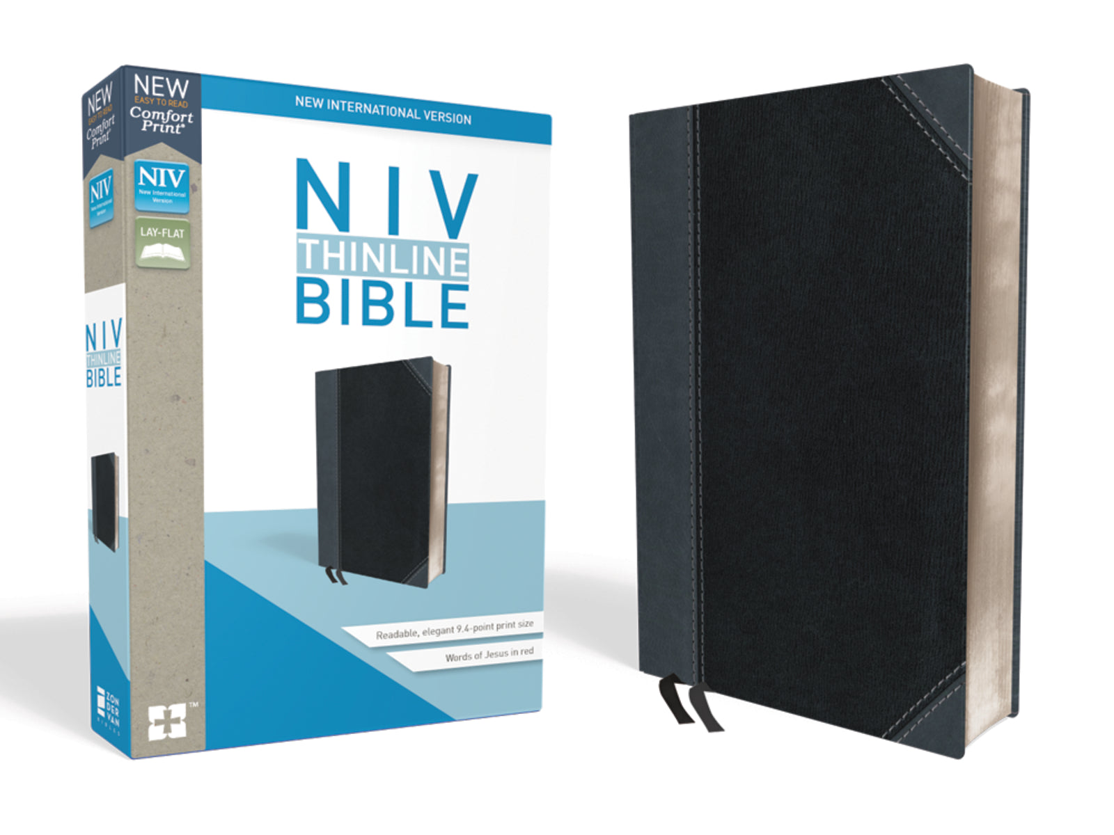 NIV-Thinline Bible Comfort Print- Black/Gray