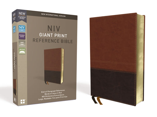 NIV Giant Print Reference Bible-Brown Leathersoft-Dark/Light Brown